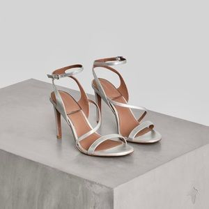 BCBG genuine leather strappy heels